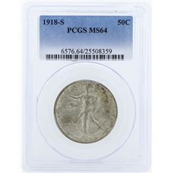 1918-S Walking Liberty Half Dollar Coin PCGS MS64