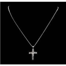 14KT White Gold 1.05ctw. Diamond Cross Pendant with Chain
