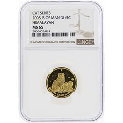 2005 Isle of Man 1/5 Crown Himalayan Gold Coin NGC MS65