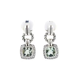 David Yurman Sterling Silver 3.00ctw Blue-Green Quartz Dangle Earrings