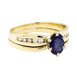 14KT Yellow Gold 0.92ct Sapphire and Diamond Ring