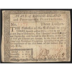July 2, 1780 $3 Rhode Island Colonial Currency Note