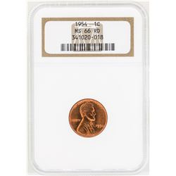 1954 Lincoln Wheat Penny Coin NGC MS66RD