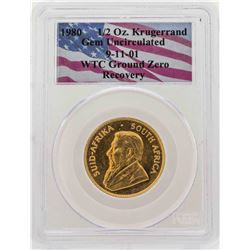 WTC Ground Zero Recovery 1980 1/2 oz. Krugerrand Gold Coin PCGS Gem Uncirculated