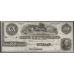 1800's $20 Bank of New England Goodspeeds Obsolete Note