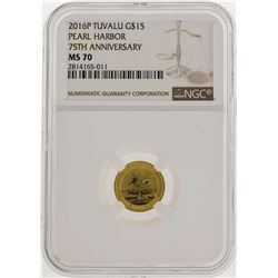 2016P Tuvalu $15 Pearl Harbor Gold Coin 75th Anniversary NGC MS70