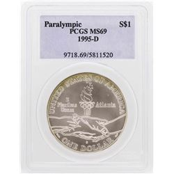 1995-D $1 Paralympic Olympic Commemorative Silver Dollar Coin PCGS MS69