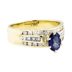 14KT Yellow Gold 0.83ct Sapphire and Diamond Ring
