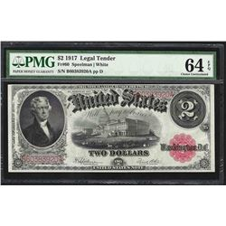 1917 $2 Legal Tender Note Fr.60 PMG Choice Uncirculated 64EPQ