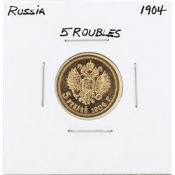 1904 Russia 5 Roubles Gold Coin
