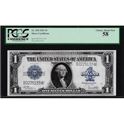 1923 $1 Silver Certificate Note Fr.238 PCGS Choice About New 58