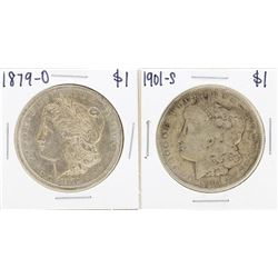 Lot of 1879-O & 1901-S $1 Morgan Silver Dollar Coins