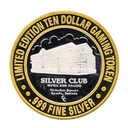 .999 Silver Club Sparks, Nevada $10 Casino Limited Edition Gaming Token