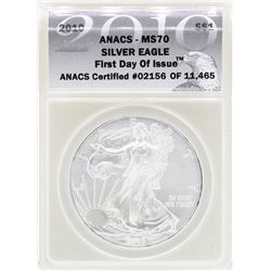 2010 $1 American Silver Eagle Coin ANACS MS70 First Day Issue