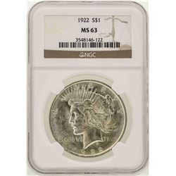 1922 $1 Peace Silver Dollar Coin NGC MS63