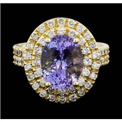 14KT Yellow Gold 4.20ct Tanzanite and Diamond Ring