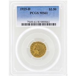 1925-D $2 1/2 Indian Head Quarter Eagle Gold Coin PCGS MS61