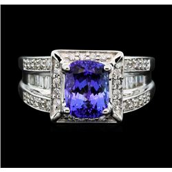14KT White Gold 2.60ct Tanzanite and Diamond Ring
