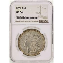 1898 $1 Morgan Silver Dollar Coin NGC MS64