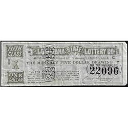 1892 State of Louisiana Lottery Ticket