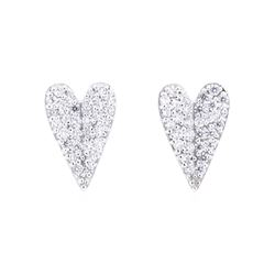 14KT White Gold 0.25ctw Diamond Heart Shaped Earrings