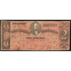 1861 $2 Corporation of Richmond Obsolete Note