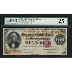1882 $100 Gold Certificate Note Fr.1214 PMG Very Fine 25