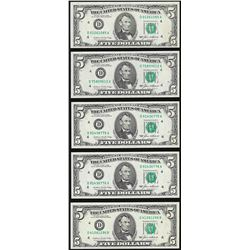 Lot of (5) 1985 $5 Federal Reserve Notes Choice Uncirculated