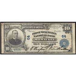1902 $10 First Wisconsin National Bank of Milwaukee Currency Note CH# 64