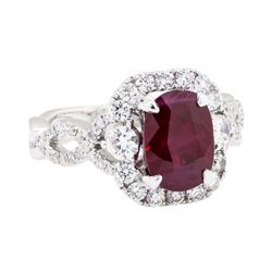 14KT White Gold 2.67ct Ruby and Diamond Ring