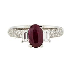 18KT White Gold 1.30ct Ruby and Diamond Ring