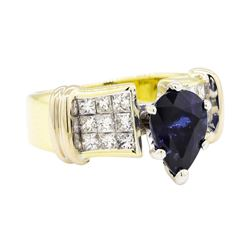 18KT Yellow Gold 2.20ct Sapphire and Diamond Ring