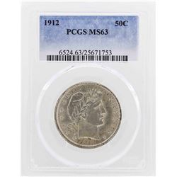 1912 Barber Half Dollar Coin PCGS MS63