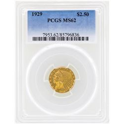 1929 $2 1/2 Indian Head Quarter Eagle Gold Coin PCGS MS61