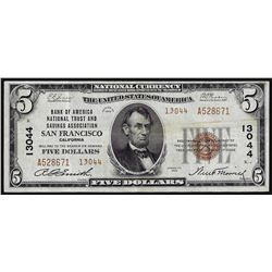 1929 $5 Bank of America San Francisco CH# 13044 National Currency Note
