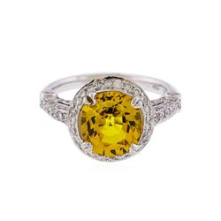 14KT White Gold 3.86ctw Yellow Sapphire and Diamond Ring