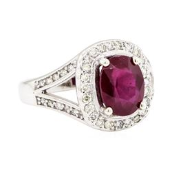 14KT White Gold 2.76ct Ruby and Diamond Ring