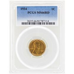 1934 Lincoln Wheat Penny Coin PCGS MS66RD
