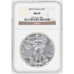 2015 $1 American Silver Eagle Coin NGC MS69