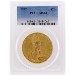 1927 $20 St. Gaudens Double Eagle Gold Coin PCGS Graded MS64