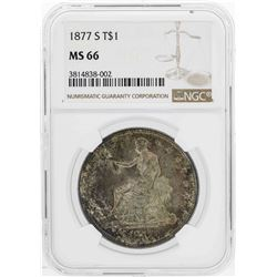 1877-S $1 Seated Liberty Trade Silver Dollar Coin NGC MS66