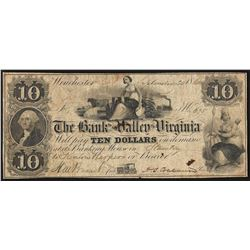 1860 $10 The Bank of the Valley in Virginia Obsolete Note