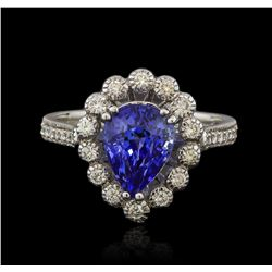 14KT White Gold 3.06ct Blue Sapphire and Diamond Ring