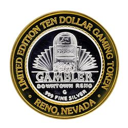 .999 Silver Gambler Reno, Nevada $10 Casino Limited Edition Gaming Token