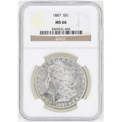 1887 $1 Morgan Silver Dollar Coin NGC MS66