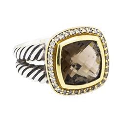 David Yurman 18KT Yellow Gold and Sterling Silver 5.00ct Smoky Quartz Ring