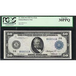 1914 $50 Federal Reserve Note New York Fr.1028 PCGS Very Fine 30PPQ