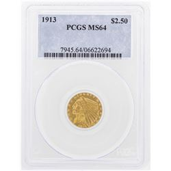 1913 $2 1/2 Indian Head Quarter Eagle Gold Coin PCGS MS64