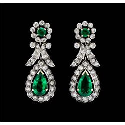 14KT White Gold 3.82ctw. Emerald and Diamond Dangle Earrings