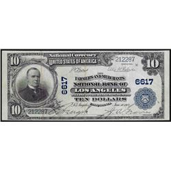 1902 $10 Farmers and Merchants Los Angeles, CA National Currency Note CH# 6617